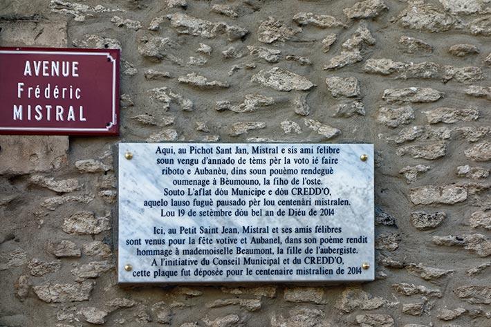 Plaque Frédéric Mistral à Graveson